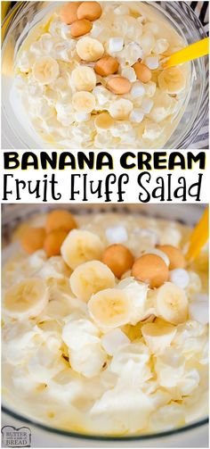 Banana Cream Fluff Salad made with bananas, yogurt, pudding mix and sweet cream. Perfect 10-minute sweet dessert salad for banana cream pie lovers! #fluffsalad #fruitsalad #banana #bananacream #dessert #bananas #recipe from BUTTER WITH A SIDE OF BREAD Easy No Bake Desserts, Easy Dinner Recipes, Holiday Recipes, Easy Recipes, Breakfast Recipes, Dessert Salads, Fruit Salads, Dessert Ideas, Orange Jello Salads