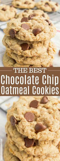 These soft and chewy Chocolate Chip Oatmeal Cookies are simply delicious! The BEST oatmeal cookie recipes and the only one you are going to need. Cookie Recipes From Scratch, Best Cookie Recipes, Best Dessert Recipes, Easy Desserts, Baking Recipes, Delicious Desserts, Delicious Dishes, Top Recipes, Family Recipes