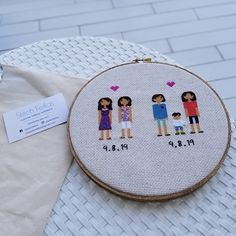 Anniversary Gift Cross Stitch Family Portrait Then and Now Cotton Anniversary Gift Wedding Couple Linen Anniversary Present for Her Gift for Cotton Anniversary Gifts, Anniversary Gifts For Couples, 2nd Anniversary, Anniversary Present, Homemade Wedding Gifts, Homemade Anniversary Gifts, Couple Gifts, Gifts For Wife, Cross Stitch Family