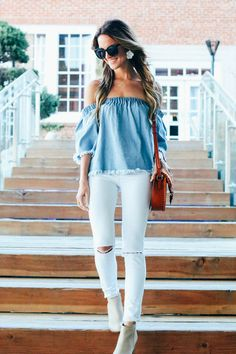 denim off the shoulder top with white skinnies for an easy spring look