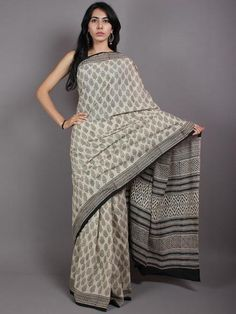 Beige Black Hand Block Printed Cotton Saree in Natural Colors - S03170569