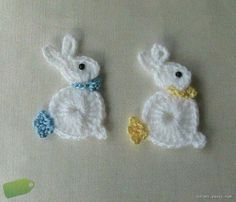 Bunny Rabbit Applique, Crochet Bunny Rabbit Applique, Crochet Bunny Rabbit Applique, Teddy Bear Appliqué pattern by Kerri Brown To the Left DUCK Crochet Applique Love Crochet, Crochet Motif, Crochet Designs, Crochet Flowers, Crochet Patterns, Crochet Appliques, Simply Crochet, Crochet Afgans, Crochet Poncho