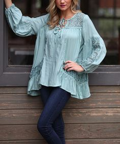 Look what I found on #zulily! English Mint Lace-Accent Peasant Top by Angie Apparel #zulilyfinds