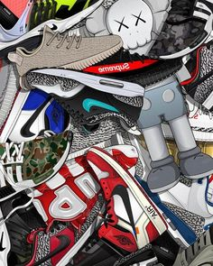 Just be a sneaker head wallpaper The fist sneaker webstore from free economic zone. Best price for all collection Bape Wallpaper Iphone, Kaws Wallpaper, Hypebeast Iphone Wallpaper, Graffiti Wallpaper Iphone, Supreme Iphone Wallpaper, Nike Wallpaper, Cartoon Wallpaper, Wallpaper Ideas, Jordan Shoes Wallpaper