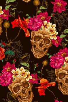 Imagem de flowers, skull, and wallpaper
