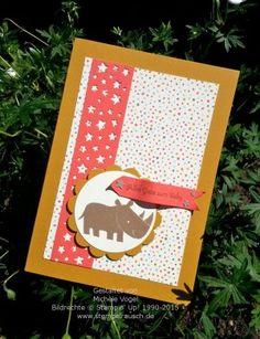 Stampin' Up! Babykarte mit dem Stempelset Zoo Babies, Designerpapier Süße Kleinigkeiten, In Color Farben Ockerbraun, Melonensorbet und Taupe und Farbkarton Vanille Pur, Stanze Sternenkonfetti