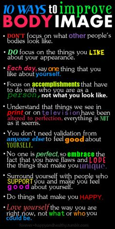 Tips to improve body image.