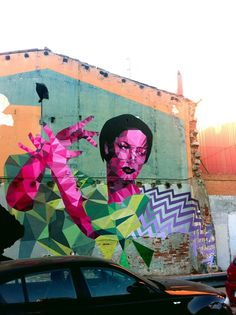 by Uriginal - Carmen Amaya - Part of mural with BToy - For Open Walls - El Clot, Barcelona - 2013