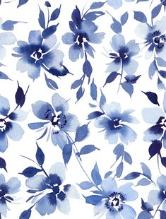 Indigo watercolor flower elements on white seamless backgound. Floral Watercolor Background, Watercolor Flowers, White Pattern Background, Navy Blue Background, Floral Pattern Vector, Floral Pattern Print, Floral Print Design, Floral Prints, Art Prints