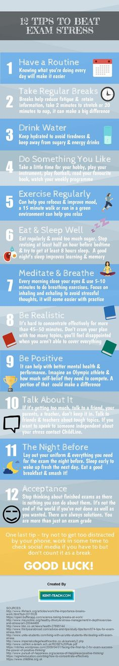 You could get the best out of your students if they follow these 12 tips to beat exam stress!. Check out that T-shirt here