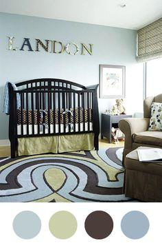 Light Grey Blue. Light Olive Green. Chocolate Brown.- Master Bedroom!!!