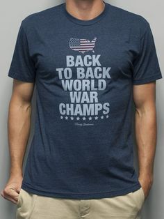Rowdy Gentleman Back to Back World War Champs American Silhouette Edition Vintage T-Shirt Midnight Navy — The Squire Shop