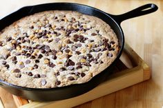 coconut, butterscotch and chocolate chip skillet cookie Skillet Chocolate Chip Cookie, Skillet Cookie, Giant Chocolate, Coconut Chocolate, Ninja Food Processor, Food Processor Recipes, Cookie Recipes, Dessert Recipes, Butterscotch Chips