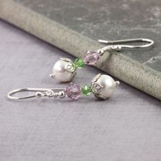 Lavender Earrings Light Green Earrings Lilac Wedding Earrings Peridot Bridal Jewelry August Birthstone White Pearl Earrings Summer Fashion by AbacusBeadCreations on Etsy https://www.etsy.com/listing/183892238/lavender-earrings-light-green-earrings