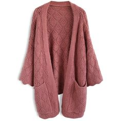 Chicwish Cozy Touch Diamond Open Knit Cardigan in Brick Red ($55) ❤ liked on Polyvore featuring tops, cardigans, jackets, red, red top, red cardigan, open knit top, cardigan top and diamond tops