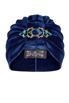 Navy Velvet Turban with Elegant Coordinating por TheFHBoutique, £30.00
