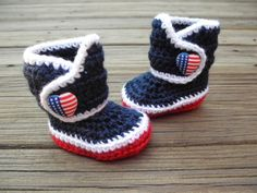 Crochet Baby Booties Red White and Blue American by Raspberriez