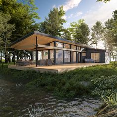 Maisons usinées, lofts modulaires et bien plus encore Container House Design, Small House Design, Cottage Design, Modern House Design, Casas Containers, Modern Cottage, Design Hotel, House Goals, Future House