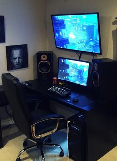 More About Basement Remodel Modern Gaming Room Setup, Pc Setup, Office Setup, Gaming Rooms, Desk Setup, Basement Guest Rooms, Basement Windows, Gray Basement, Modern Basement
