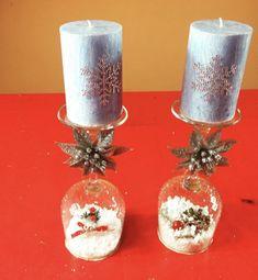 Centro de mesa navideño Candle Holders, Candles, Christmas Table Centerpieces, Christmas Tables, Christmas Decor, Candy, Light House, Candle, Candle Stands