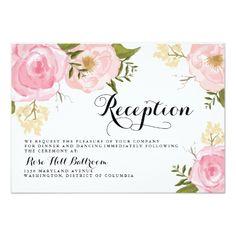 Pink Wedding RSVP Cards Modern Vintage Pink Floral Wedding Reception Card