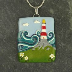 Gorgeous sea-cliff lighthouse necklace made from Polymer clay by Sulwen Arts, Folksy