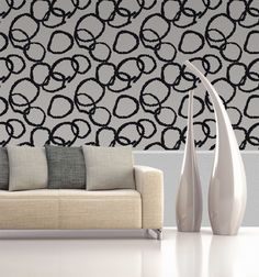 LOVE this modern wallpaper with a really fun bold black and white circular pattern! #wallpaper