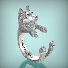 Siberian Husky Breed Jewelry Cuddle Wrap Ring