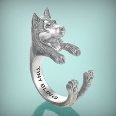 Siberian Husky Breed Jewelry Cuddle Wrap Ring