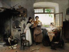 Gerolamo Induno (Milano, 1827 - 1890) Donne romane, scena contemporanea (1864) Olio su tela, 76 x 101 cm. Collezione privata, courtesy Sotheby's