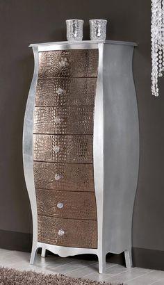 Cassettiera foglia argento bombata con 7 cassetti in pelle bronzo