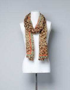 ANIMAL PRINT COLOURED STRIPE SCARF - Scarves - Accessories - Woman - ZARA United States