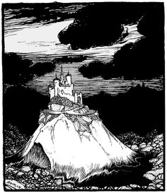 The Golden Castle of Stromberg; The Raven - The Fairy Tales of the Brothers Grimm, 1909 Building Silhouette, Castle Silhouette, Monster Clipart, Medieval Fair, Public Domain Books, Picture Writing Prompts, Free Clipart Images, Celtic Patterns, Writing Inspiration