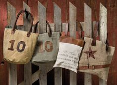 Vintage-Styled Canvas Totes from Allyson's Place. http://allysonsplace.com/catalog.php?item=6030. See more country products in the March issue of Country Sampler: https://www.samplermagazines.com/detail.html?prod_id=150