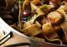 recette de Pâtes aux olives  et épices