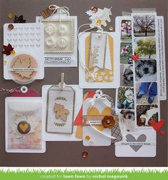 Lawn Fawn - Sweater Weather Collection, Fall Leaf Wood Veneer, Tag You're It, Hearts Lawn Cuts, Into the Woods, Thank You Tags, Orchid lawn Trimmings, Gold Sparkle Lawn Trimmings _ layout by Nichol for Lawn Fawn Design Team
