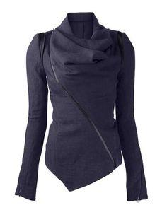 Patchwork Stylish Cowl Neck Jacket