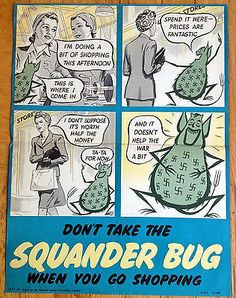 Original-WWII-Beware-The-Squander-Bug-Shopping-Poster-National-Savings-Committee