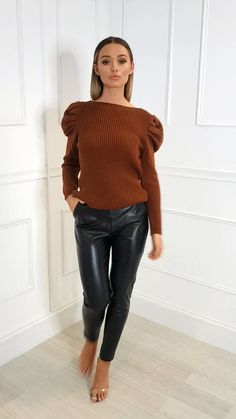 Our CARA jumper features long puffed sleeves, a wide crew neckline and fitted style. Pair with some leather… Tight Leather Pants, Leather Pants Outfit, Leather Jeans, Leather Jackets, Black Leather, Beste Jeans, Vinyl Dress, Leder Outfits, Shiny Leggings