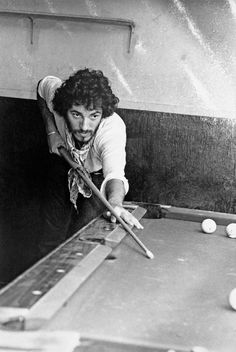 Bruce Springsteen playing pool at Lee Dorsey's Ya-Ya Lounge in New Orleans, 1975  BilliardFactory.com
