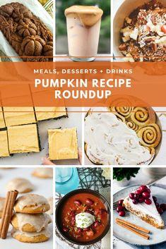 Pumpkin recipe roundup spanning meals, desserts   beverages Best Dessert Recipes, Coffee Recipes, Pumpkin Recipes, Fun Desserts, Fall Recipes, Drink Recipes, Appetizer Recipes, Pumpkin Banana Bread, Pumpkin Chocolate Chip Bread