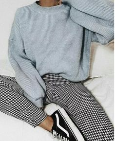 Gingham pants vans old soooo sneakers blue knit sweater cozy outfit vans outfit gingham pants outfit womens fashion february fashion outfits with sneakers for high school teenager outfits 20 outfits with vans Simple Outfits For School, Casual School Outfits, Cute Casual Outfits, Winter School Outfits, Cold Weather Outfits For School, Casual Outfits For Winter, Chic Outfits, Casual Chic, Cute Pants Outfits