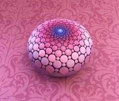 Jewel Drop Mandala Painted Stone sacred geometry par ElspethMcLean