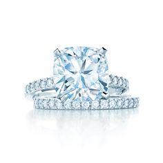 Tiffany Novo® engagement ring with matching diamond band. #TiffanyPinterest #WeddingBand