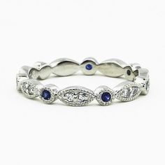 Platinum Tiara Eternity Diamond and Sapphire Ring... makes a nice right-hand ring