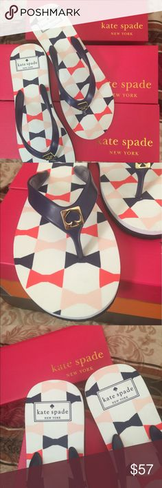 Kate Spade flip flops us 7/8 Brand new absolutely authentic comes with original box. Gorgeous design and very comfortable I have the same one and absolutely love them!!!  Size is medium fit to us 7 and 8 kate spade Shoes