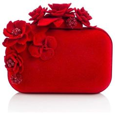 Jimmy Choo Cloud Floral Embellished Hard Clutch found on Polyvore featuring bags, handbags, clutches, bolsas, structured handbag, red box clutch, red clutches, jimmy choo clutches and floral purse
