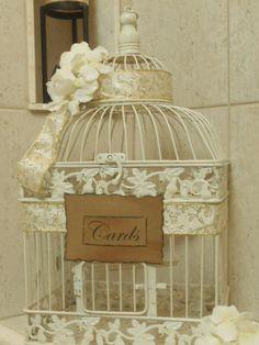Shabby Princess Wedding/Birdcage/Cardholder by YesMoreFunk on Etsy, $58.00
