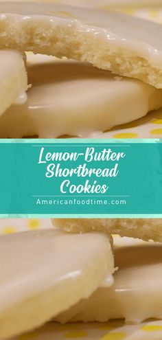 You will love the burst of fresh lemon flavor in these buttery tender shortbread cookies. And if thats not enough to tempt your taste buds they get dipped in a tart lemony glaze. Cookies taste more lemony the next day. Butter Shortbread Cookies, Honey Cookies, Lemon Cookies, My Recipes, Sweet Recipes, Baking Recipes, Cookie Recipes, Dessert Recipes, Delicious Cookies