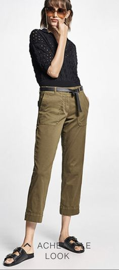 Mode Birkenstock, Khaki Pants, Fashion, Moda, Khakis, Fashion Styles, Fashion Illustrations, Trousers